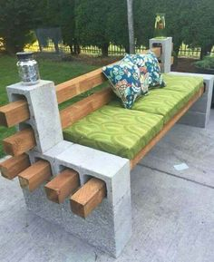 4 x 4 and cinder block bench for fire pit area? Without back rest though                                                                                                                                                                                 More