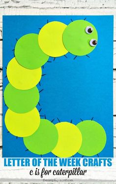 of the Week Activities: C is for Caterpillar Craft (Made with Circles) Letter of the Week activities and crafts are a fun, hands-on way to practice letters with kids. Make this C is for Caterpillar craft and get some great book ideas too! Preschool Letter Crafts, Alphabet Letter Crafts, Abc Crafts, Preschool Projects, Daycare Crafts, Classroom Crafts, Preschool Lessons, Preschool Activities, Letter Tracing
