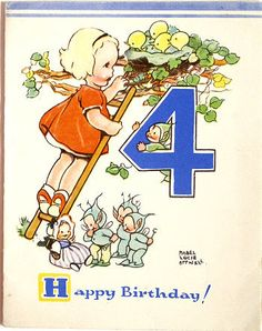 Happy 4th Birthday! ~ Vintage Mabel Lucie Atwell card