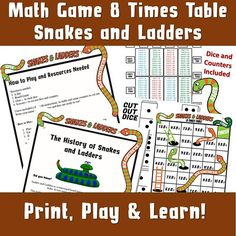 FREE Maths Times Tables Multiplication Printable Games Worksheets Make Learning Maths Fun! 12 Times Table, Times Tables Games, Times Tables Worksheets, Printable Games For Kids, Printable Board Games, Board Games For Kids, Multiplication Activities, Math Games, Snakes And Ladders Printable