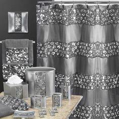 Popular Bath Sinatra Silver Shower Curtain Shower Decor Curtain Home, NEW Silver Shower Curtain, Silver Bathroom, Bling Bathroom, Glitter Bathroom, Bathroom Ideas, Hall Bathroom, Modern Bathroom, Silver Bedroom Decor, Bathroom Gallery