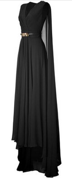 Black sleeveless evening dress with gold cinch belt and flowing cape. Stunning!