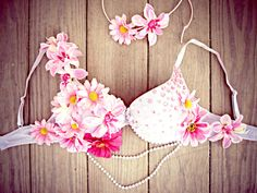 Pink Flower Child Rave Bra