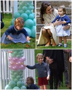 The Cambridges are currently enjoying a children's party held in the Government House gardens in Victoria where they have been staying this's week. This is the children's first joint engagement as they play with children of military families.  Upon arriving, Charlotte ran to some balloons and her first word was 'pop'. Meanwhile, George got his hands on a bubble gun and was squirting Charlotte with it. There is a petting zoo set up and George had a go sitting on a pony while Charlotte sat on…