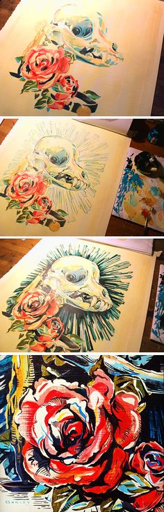 Roses & a Chihuahua Skull. Painting process for a Day of the Dead (Día de los Muertos) art show. Art by Jacqui Oakley