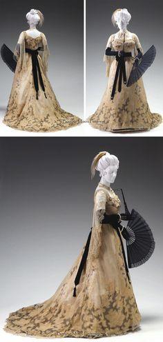 Reception gown, Worth, ca. 1895-1900. Two pieces. Silk chiffon, silk net, Alençon lace, Chantilly lace, silk satin. Mint Museum