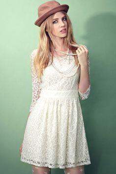 Moonbasa Romantic High Waist Lace Basic Dress [FXBI00441] - PersunMall.com