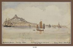 """BRINE, Lindesay, Commander, Royal Navy (1834-1906) [CHINA: A Panoramic Signed and Dated Watercolour of Chefoo (Yantai) During the Taiping Rebellion (1850-1864)]. 23rd June 1860. Watercolour ca. 23x38 cm (9x15 in) mounted on larger card. Overall a very good painting. Recently matted. An attractive and skillfully executed pencil drawing heightened with watercolour. The artist, who entered the Royal Navy in 1847 was the author of """"The Taeping Rebellion in China; a narrative of its rise and…"""
