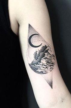 Geometric wave tattoo by Grad