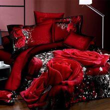 Grande rosa/flor vermelha pintura a óleo conjunto de cama 3d 4 pcs lençóis de algodão capa de edredão/colcha de cama de luxo roupa de cama king size define rainha(China (Mainland))