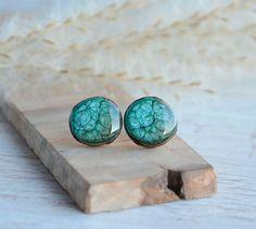 Green blue earrings round earring studs wooden stud