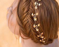 Wedding Tiara Bridal Headpiece Gold Leaf Headpiece by AnnAndGrace