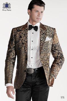 Chaqueta patchwork de moda italiano a medida en tejido 100% jacquard de pura seda, con solapa en V moda y 2 botónes de fantasía, modelo 976 Ottavio Nuccio Gala colección Emotion 2015.