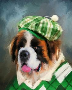 Chic Saint Bernard Golfer by Jai Johnson St Bernard Breed, St Bernard Dogs, Little Dogs, Big Dogs, Farmhouse Paintings, Working Dogs, Dog Art, Mans Best Friend, Cute Baby Animals