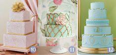 Bolo de casamento colorido tons pastel com detalhe dourado
