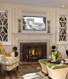 Beautiful Traditional Living Room Design with TV Above Fireplace and Nice Sofa Tv Over Fireplace, Fireplace Built Ins, Fireplace Mantle, Fireplace Surrounds, Fireplace Design, Fireplaces With Tv Above, Tv Above Mantle, Living Room Ideas With Fireplace And Tv, Fireplace Damper