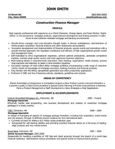 Click Here To Download This Construction Finance Manager Resume Template!  Http://www  A Professional Resume