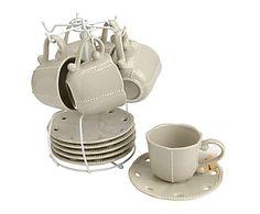 Set de 6 tazas de café con soporte Candy