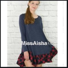 Great plaid trim dress New just in chic plaid trim dress PLEASE comment on the size you want and allow me to make you a personalized listing BUNDLE AND SAVE 10% Dresses