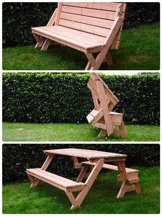 Opklapbare bank/ picknicktafel