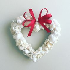 Excited to share the latest addition to my #etsy shop: White shell heart wreath/Valentine wreath/shell wreath/wedding wreath #wedding #valentinesday #valentinewreath #whiteshellwedding #shelldecor