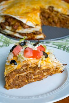mexican cooking Layered Taco Pie Use Corn Tortillas & omit refried beans. Meat Recipes, Mexican Food Recipes, Cooking Recipes, Mexican Cooking, Mexican Entrees, Hamburger Recipes, Taco Bar, Beef Dishes, Food Dishes