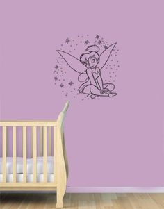 Housewares Vinyl Decal Tinkerbell with Stars Home Wall Art Decor Removable Stylish Sticker Mural Unique Design for Baby Girl Nursery Room by Decal House, http://www.amazon.com/dp/B00DQQILII/ref=cm_sw_r_pi_dp_ZZ8fsb0JN5MBT