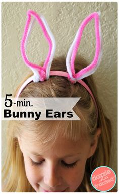 DIY 5-minute Easter bunny ears crafted from dollar store pipe cleaners and headbands. How to make DIY Easter decorations and bunny crafts for kids for perfect spring Easter egg hunt decor and attire. How to make your own DIY headbands for kids. via @https://www.pinterest.com/dazzlefrazzled/ #eastercrafts #easterbunny #dollarstorecrafts #dollartree