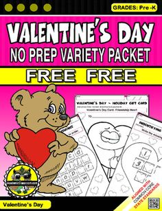FREE Valentine's Day Variety Pack, Alphabets,Math,Games,Valentine's Day CardsWorksheets include:* 2 Lowercase alphabets a-z* 2 Uppercase alphabets A-Z* 2 Numbers 1-10* 2 Numbers 1-20* Tic-Tac-Toe Game* Dots Game* Valentine's Day (Bear Card) students can color then give to a classmate* Valentine's Day (Heart Card) students can color then give to a classmateIF YOU LIKE THIS PRODUCT, YOU MAY ALSO ENJOY OUR OTHER PRODUCTS:FULL EDUCATIONAL PRODUCTS:Addition Zero - Twelve Practice Worksheets…