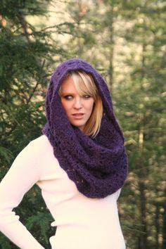 Eggplant  Purple  Textured Chunky Cowl Scarf by crochetgallery, crochet  , fashion, winter fashion,