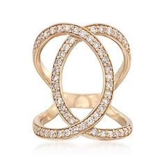 When two simple curves connect, the effect is absolutely arresting as it is with this .97 ct. t.w. shimmering diamond open loop ring. Our openwork ring stands tall for impact.