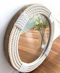 Round Mirror With Rope, Rope Mirror, Diy Mirror, Coastal Mirrors, Beach Wood Signs, How To Make Frames, Home Decoracion, Beach Theme Bathroom, Lake Decor