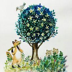 【rumiplus】さんのInstagramをピンしています。 《#artwork#illustration#painting #bird#fox#cat#forest#tree#concert #森の音楽会#アートワーク#イラストレーション#狐#猫#鳥#animals#動物たち#木#森》