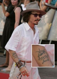 Johnny Depp - tattoo of his son's name from the similar tattoo design of Captain Jack Sparrow's
