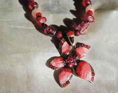 Christmas red Poinsettia Flower Necklace by GIFTSwithSPIRIT, $22.00
