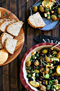 Garlic Roasted Olives with lemon, thyme, feta, and peppers from foodiewithfamily.com