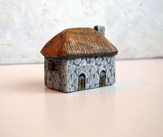 Handmade polymer clay fairy house...fairy houses...fairy gardens...Old Stone English Cottage House with thatched roof