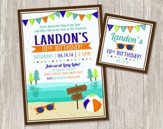 Lake Birthday Party Invitations  Summer by ThePaperVioletShoppe, $15.00