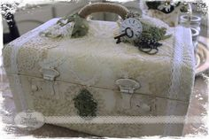 **My Desert Cottage**: Traincase Makeover Vintage Cream White lace vintage recycled upcycle makeover altered