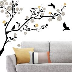 Items similar to Elegant/Whimsical Vinyl Tree and Birds Decal- Vinyl Wall Decal/Décor on Etsy Creative Wall Painting, Wall Painting Decor, Mural Wall Art, Vinyl Wall Art, Wall Decal, Wall Stickers Home Decor, Diy Wall Decor, Diy Bedroom Decor, Good Living Room Colors