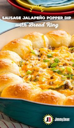 We love this dip recipe with Jimmy Dean Hot Pork Sausage so much, we put a ring on it. A fluffy, golden ring. It was the only reasonable course of action when ingredients this tasty all harmoniously melt together. Cream cheese, jalapeños, hot pork sausage, cheddar and Monterey jack cheese make for one satisfying game day dish.
