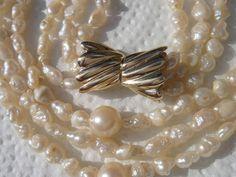 585 Gold Schließe, 3 reihiges Perlen Collier, Perlenkette, mit Akoya und Biwa