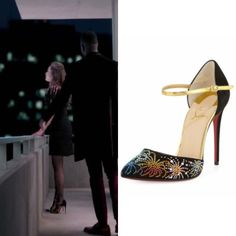 """Fallon Carrington wears these Christian Louboutin """"Riviera on Fire"""" 100mm pumps on Dynasty 1x08"""
