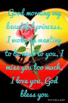Good morning my beautiful princess, I woke up wanting to be next to you, I miss you too much, I love you, God bless you