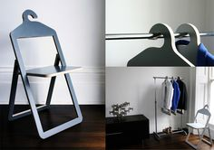 "Hanger Chair by Philippe Malouin is a cool and unexpected hybrid – half furniture and half closet accessory. The idea came when designer realized that  ""when space is an issue an object such as a folding chair will clutter up the precious available space."" So he figured out how to make a folding chair serve us even when not in use – put it to work in your closet."