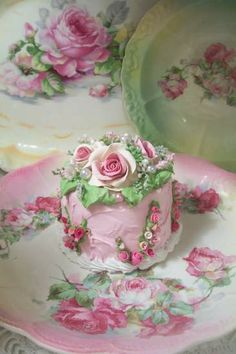 (BABY CAKES)  SHABBY COTTAGE PINK ROSE DECORATED FAKE CAKE