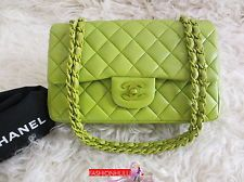 Authentic CHANEL Apple Green Classic 2.55 Lambskin Quilted Double Flap Hand Bag