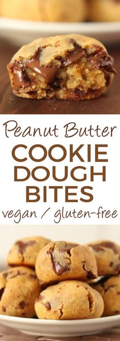 The Original Grain-free Peanut Butter Chocolate Chip Cookie Dough Bites - no flour, no sugar and no oil! Gooey, quick and easy with a surprise ingredient!