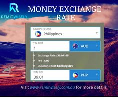 Send money overseas with RemitWisely. First transaction fee is Free! Visit www.remitwisely.com.au/ for real time money exchange rates.  #RemitWisely #MoneyTransfer #PesoExchangeRate #MoneyRemittance #FinancialService Exchange Rate, Money, Free, Silver