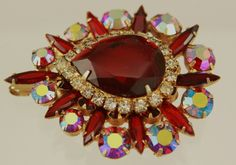 Spectacular Rare Juliana Red Rhinestone Brooch by MJGTreasures on Etsy